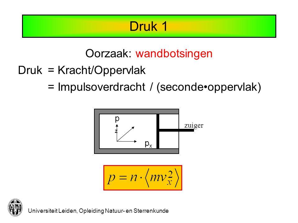 Universiteit Leiden, Opleiding Natuur- en Sterrenkunde Druk 2 Alle richtingen zijn gelijk: Druk: Gemiddelde kinetische energie per deeltje Totale kinetische energie