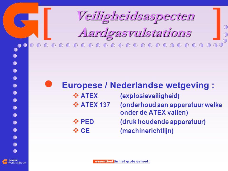 essentieel in het grote geheel Veiligheidsaspecten Aardgasvulstations Europese / Nederlandse wetgeving :  ATEX (explosieveiligheid)  ATEX 137 (onderhoud aan apparatuur welke onder de ATEX vallen)  PED (druk houdende apparatuur)  CE (machinerichtlijn)