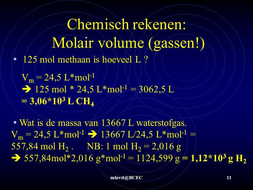 mlavd@BCEC11 Chemisch rekenen: Molair volume (gassen!) 125 mol methaan is hoeveel L ? Wat is de massa van 13667 L waterstofgas. V m = 24,5 L*mol -1 