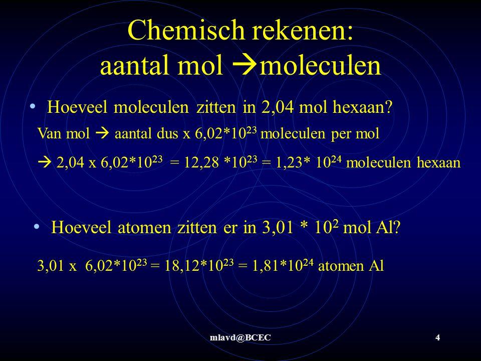mlavd@BCEC4 Chemisch rekenen: aantal mol  moleculen Hoeveel moleculen zitten in 2,04 mol hexaan? Hoeveel atomen zitten er in 3,01 * 10 2 mol Al? Van