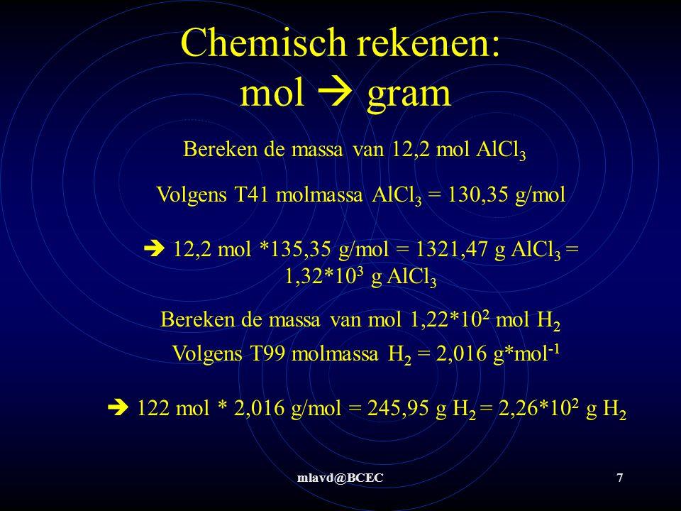 mlavd@BCEC7 Bereken de massa van 12,2 mol AlCl 3 Bereken de massa van mol 1,22*10 2 mol H 2 Volgens T41 molmassa AlCl 3 = 130,35 g/mol  12,2 mol *135
