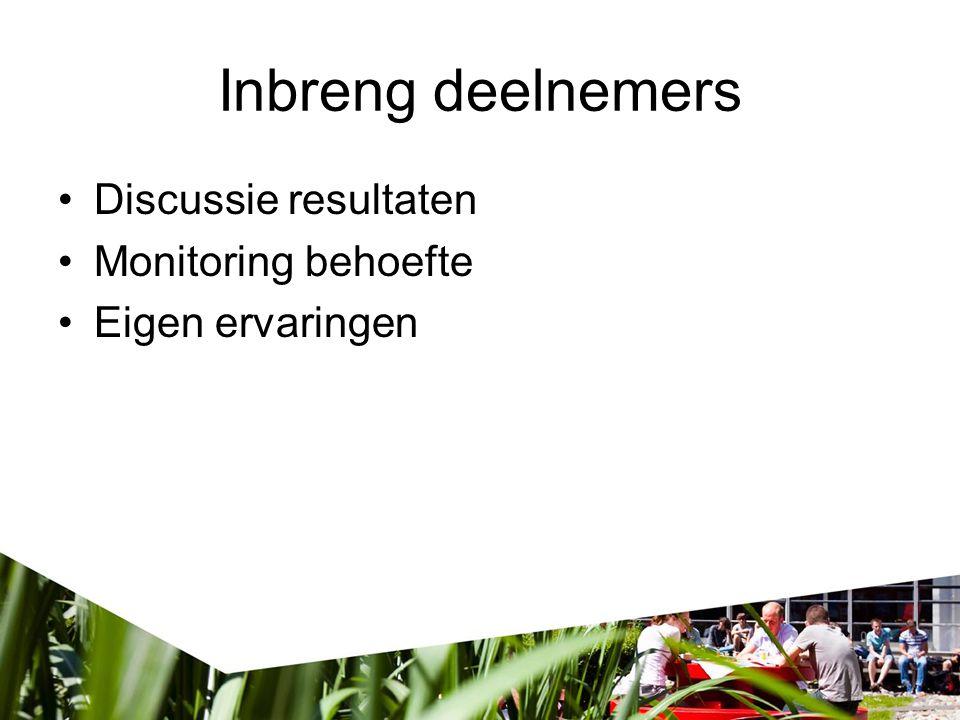 Inbreng deelnemers Discussie resultaten Monitoring behoefte Eigen ervaringen