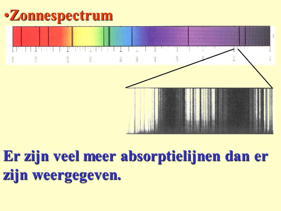 Er zijn veel meer absorptielijnen dan er zijn weergegeven. ZonnespectrumZonnespectrum