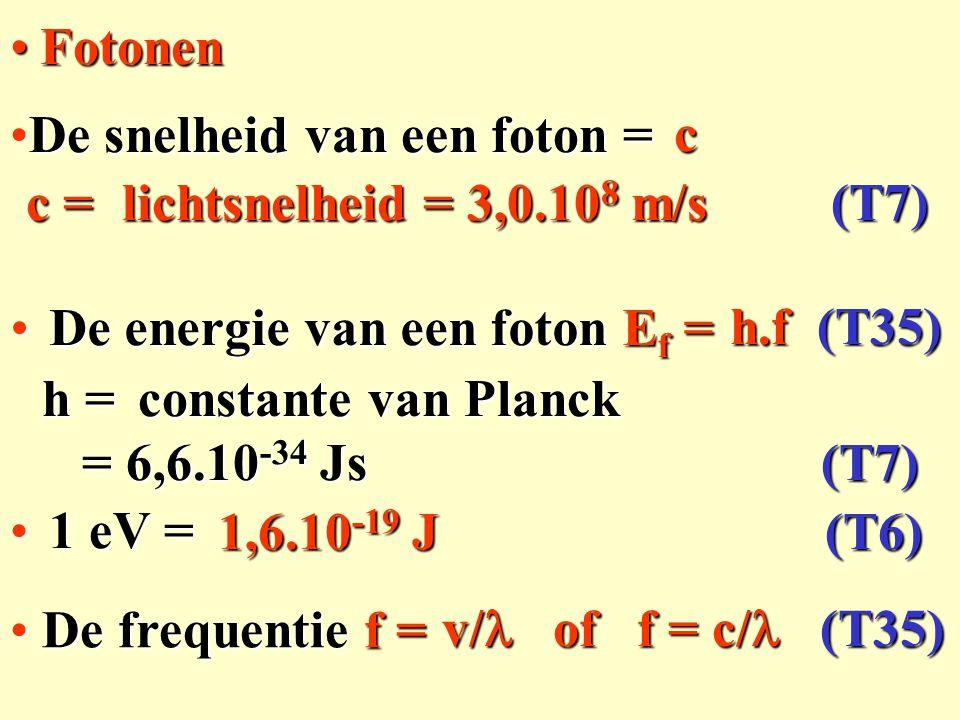 c v/ of f = c/  ( T35) De snelheid van een foton =De snelheid van een foton = De frequentie f = De frequentie f = FotonenFotonen De energie van een