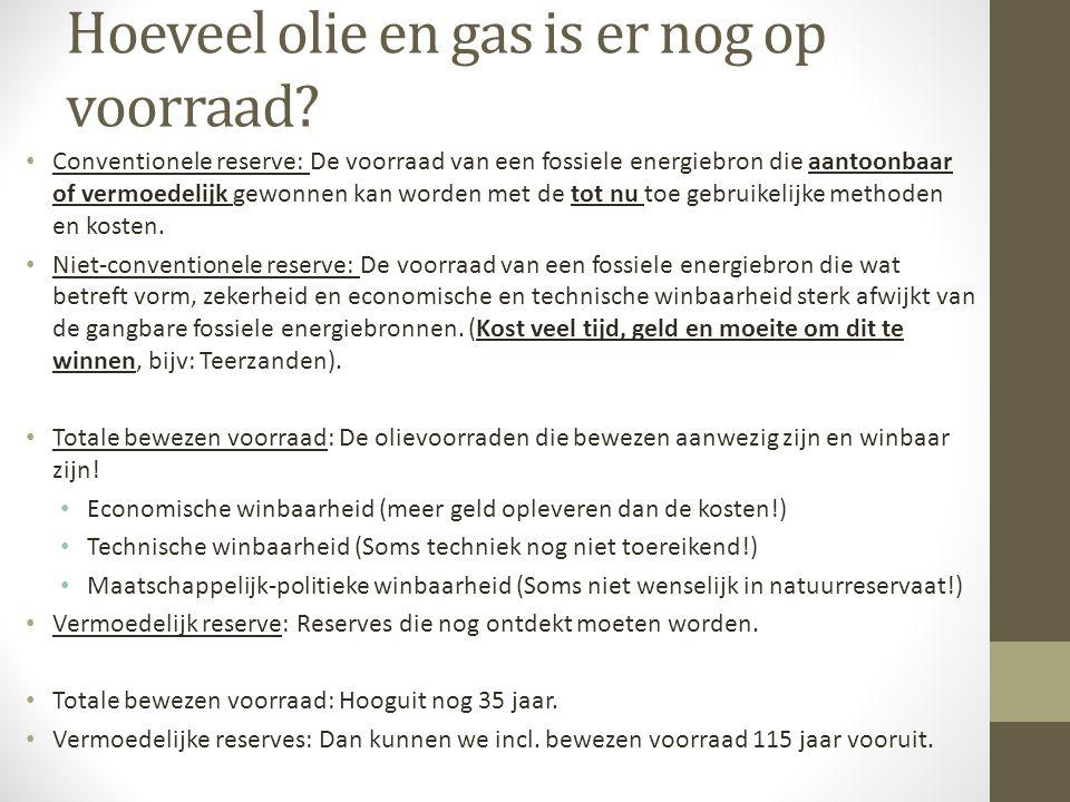 Hoeveel olie en gas is er nog op voorraad? Conventionele reserve: De voorraad van een fossiele energiebron die aantoonbaar of vermoedelijk gewonnen ka