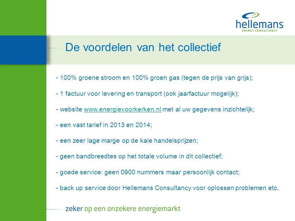 - 100% groene stroom en 100% groen gas (tegen de prijs van grijs); - 1 factuur voor levering en transport (ook jaarfactuur mogelijk); - website www.energievoorkerken.nl met al uw gegevens inzichtelijk; - een vast tarief in 2013 en 2014; - een zeer lage marge op de kale handelsprijzen; - geen bandbreedtes op het totale volume in dit collectief; - goede service: geen 0900 nummers maar persoonlijk contact;www.energievoorkerken.nl - back up service door Hellemans Consultancy voor oplossen problemen etc.