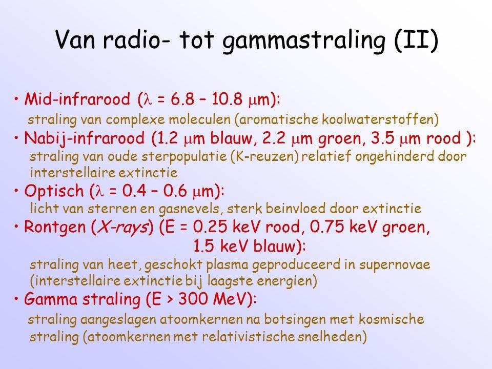 Van radio- tot gammastraling (II) Mid-infrarood ( = 6.8 – 10.8  m): straling van complexe moleculen (aromatische koolwaterstoffen) Nabij-infrarood (1