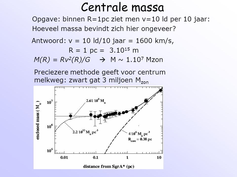 Centrale massa Preciezere methode geeft voor centrum melkweg: zwart gat 3 miljoen M zon Opgave: binnen R=1pc ziet men v=10 ld per 10 jaar: Hoeveel mas