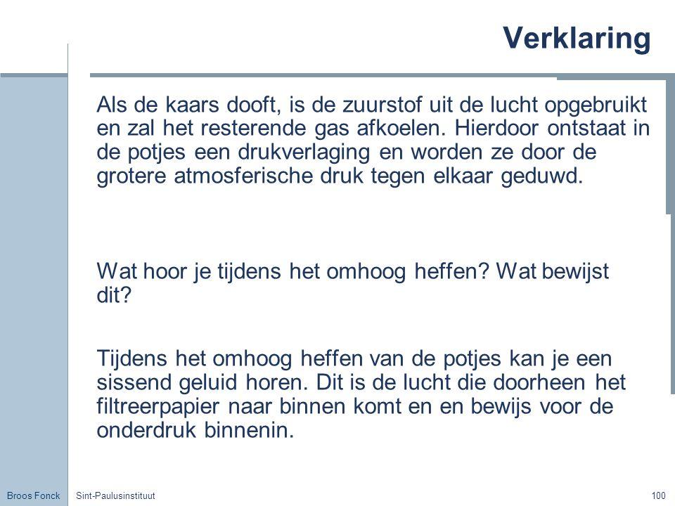 Broos Fonck Sint-Paulusinstituut100 Verklaring Als de kaars dooft, is de zuurstof uit de lucht opgebruikt en zal het resterende gas afkoelen.