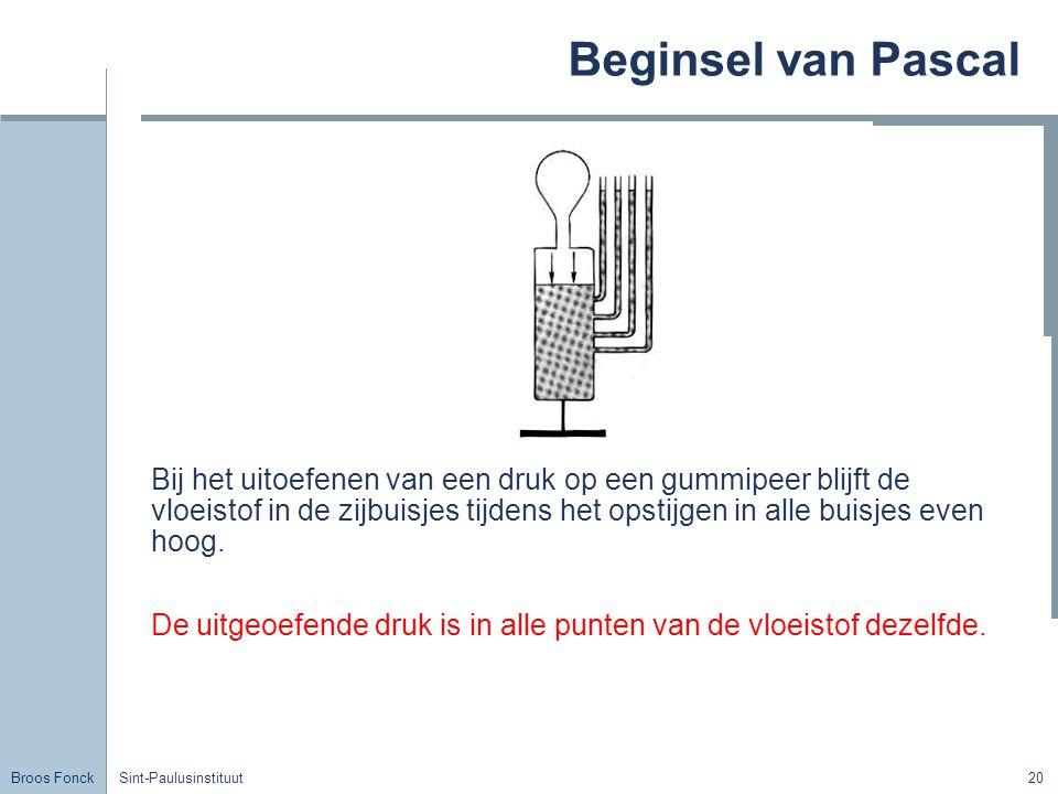 Broos Fonck Sint-Paulusinstituut20 Beginsel van Pascal Bij het uitoefenen van een druk op een gummipeer blijft de vloeistof in de zijbuisjes tijdens het opstijgen in alle buisjes even hoog.