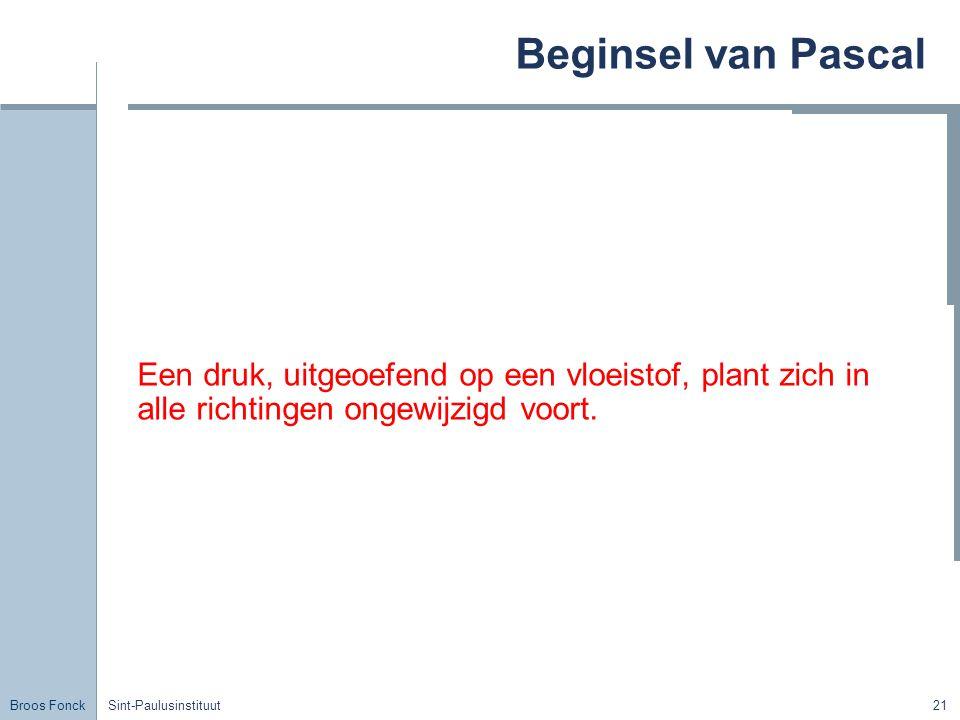 Broos Fonck Sint-Paulusinstituut21 Beginsel van Pascal Een druk, uitgeoefend op een vloeistof, plant zich in alle richtingen ongewijzigd voort.