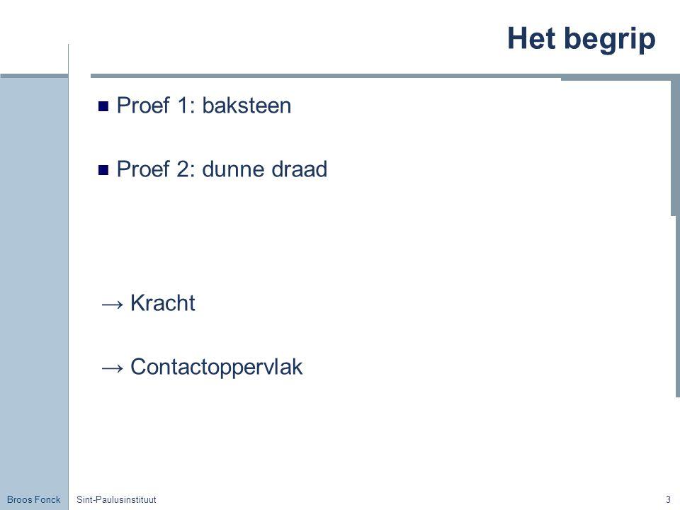 Broos Fonck Sint-Paulusinstituut3 Het begrip Proef 1: baksteen Proef 2: dunne draad → Kracht → Contactoppervlak