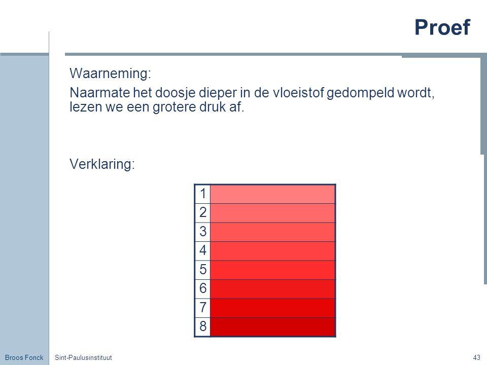 Broos Fonck Sint-Paulusinstituut43 Proef Waarneming: Naarmate het doosje dieper in de vloeistof gedompeld wordt, lezen we een grotere druk af.