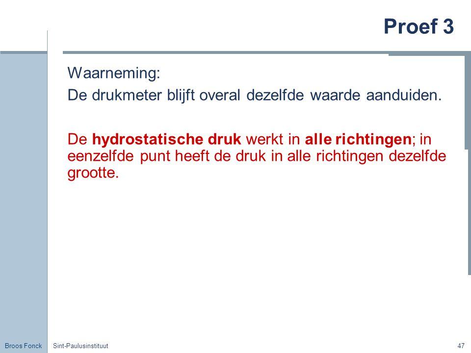 Broos Fonck Sint-Paulusinstituut47 Proef 3 Waarneming: De drukmeter blijft overal dezelfde waarde aanduiden.