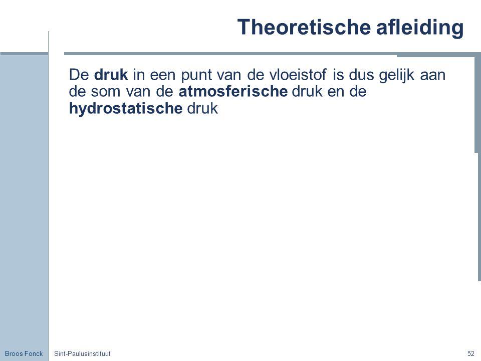 Broos Fonck Sint-Paulusinstituut52 Theoretische afleiding De druk in een punt van de vloeistof is dus gelijk aan de som van de atmosferische druk en de hydrostatische druk
