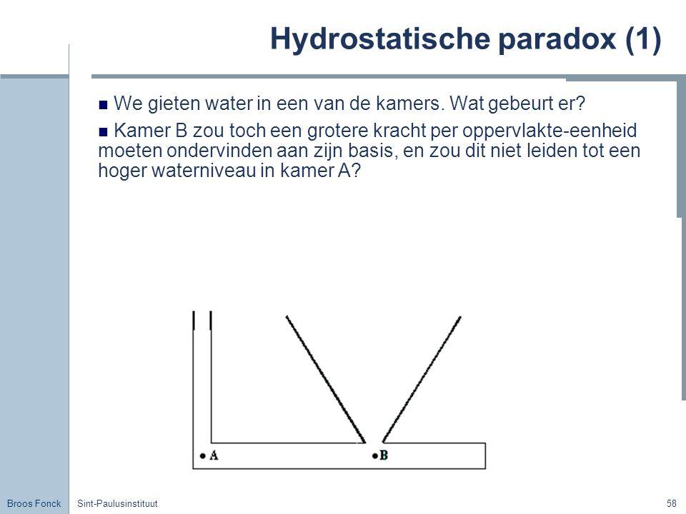 Broos Fonck Sint-Paulusinstituut58 Hydrostatische paradox (1) We gieten water in een van de kamers.