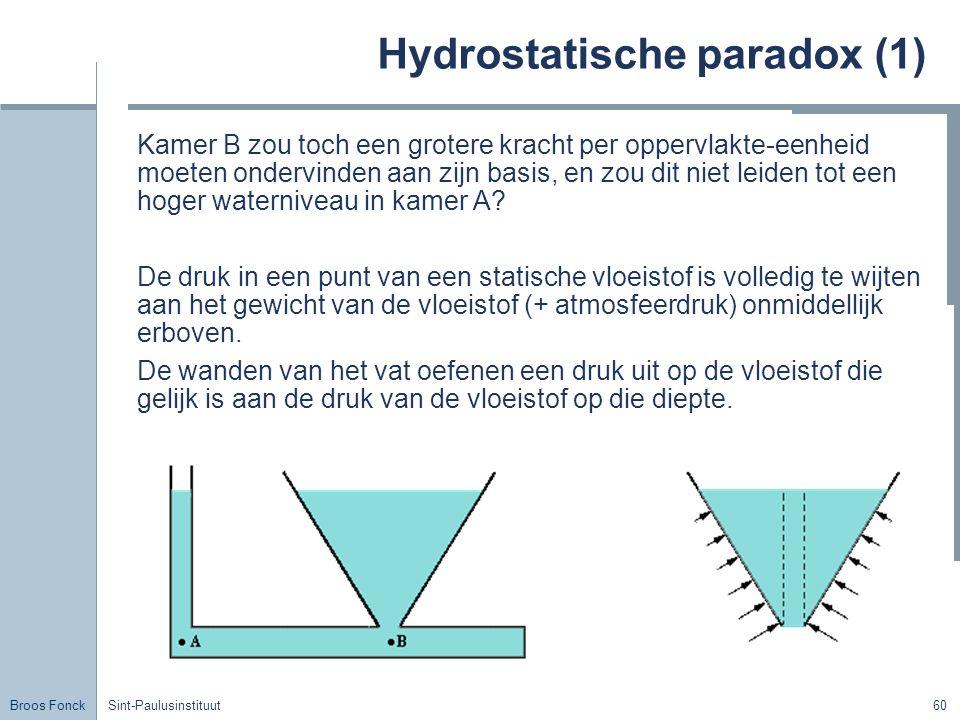 Broos Fonck Sint-Paulusinstituut60 Hydrostatische paradox (1) Kamer B zou toch een grotere kracht per oppervlakte-eenheid moeten ondervinden aan zijn basis, en zou dit niet leiden tot een hoger waterniveau in kamer A.