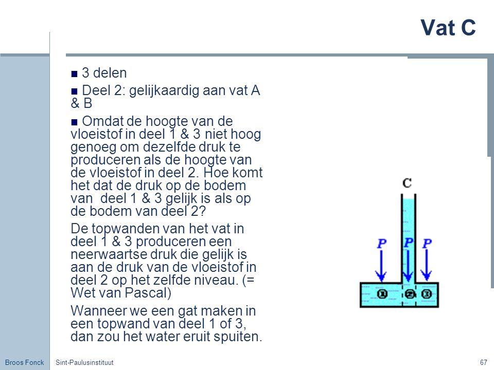 Broos Fonck Sint-Paulusinstituut67 Vat C 3 delen Deel 2: gelijkaardig aan vat A & B Omdat de hoogte van de vloeistof in deel 1 & 3 niet hoog genoeg om dezelfde druk te produceren als de hoogte van de vloeistof in deel 2.