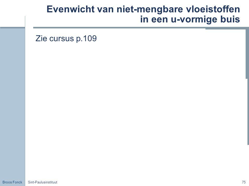 Broos Fonck Sint-Paulusinstituut75 Evenwicht van niet-mengbare vloeistoffen in een u-vormige buis Zie cursus p.109