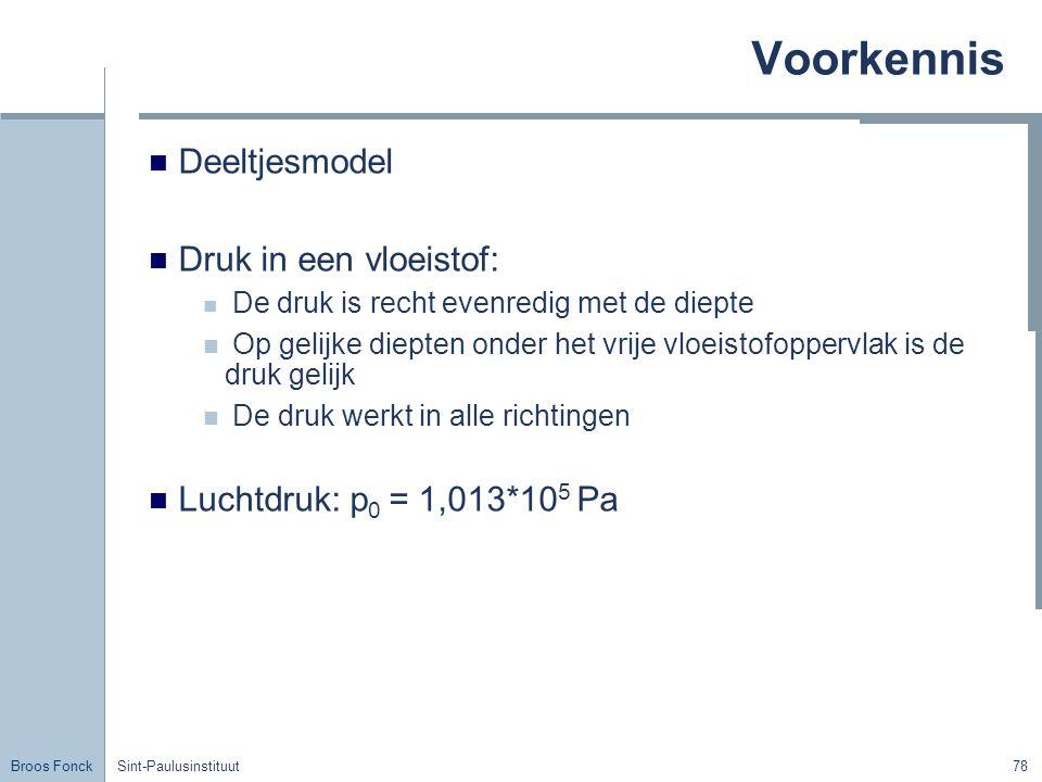 Broos Fonck Sint-Paulusinstituut78 Voorkennis Deeltjesmodel Druk in een vloeistof: De druk is recht evenredig met de diepte Op gelijke diepten onder het vrije vloeistofoppervlak is de druk gelijk De druk werkt in alle richtingen Luchtdruk: p 0 = 1,013*10 5 Pa