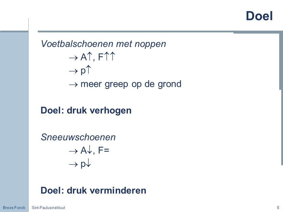 Broos Fonck Sint-Paulusinstituut69 Vat E Druk blijft dezelfde: Wet van Pascal We vertrekken van de oppervlakte tot een bepaalde diepte en herhalen dit tot we de bodem bereiken.