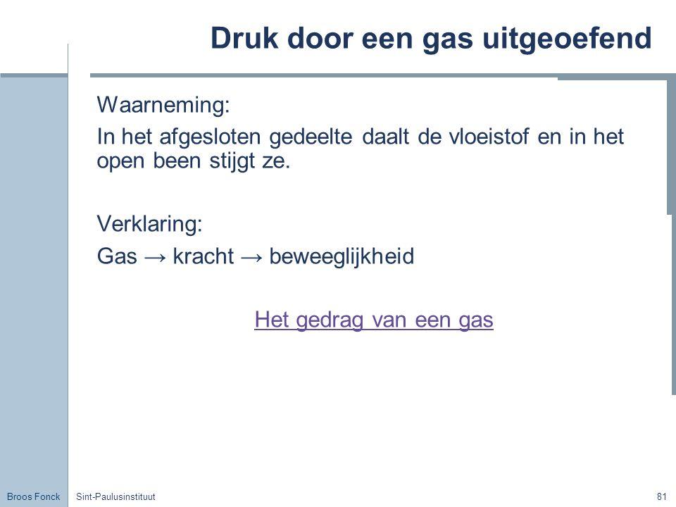 Broos Fonck Sint-Paulusinstituut81 Druk door een gas uitgeoefend Waarneming: In het afgesloten gedeelte daalt de vloeistof en in het open been stijgt ze.