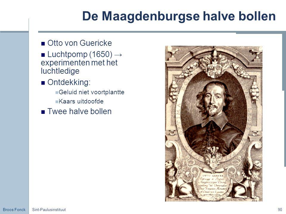 Broos Fonck Sint-Paulusinstituut90 De Maagdenburgse halve bollen Otto von Guericke Luchtpomp (1650) → experimenten met het luchtledige Ontdekking: Geluid niet voortplantte Kaars uitdoofde Twee halve bollen