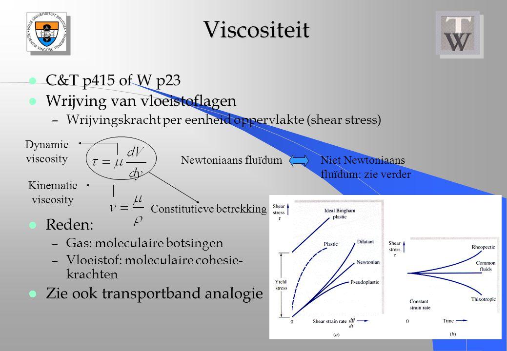 Viscositeit Viscositeit l C&T p415 of W p23 l Wrijving van vloeistoflagen –Wrijvingskracht per eenheid oppervlakte (shear stress) l Reden: –Gas: molec