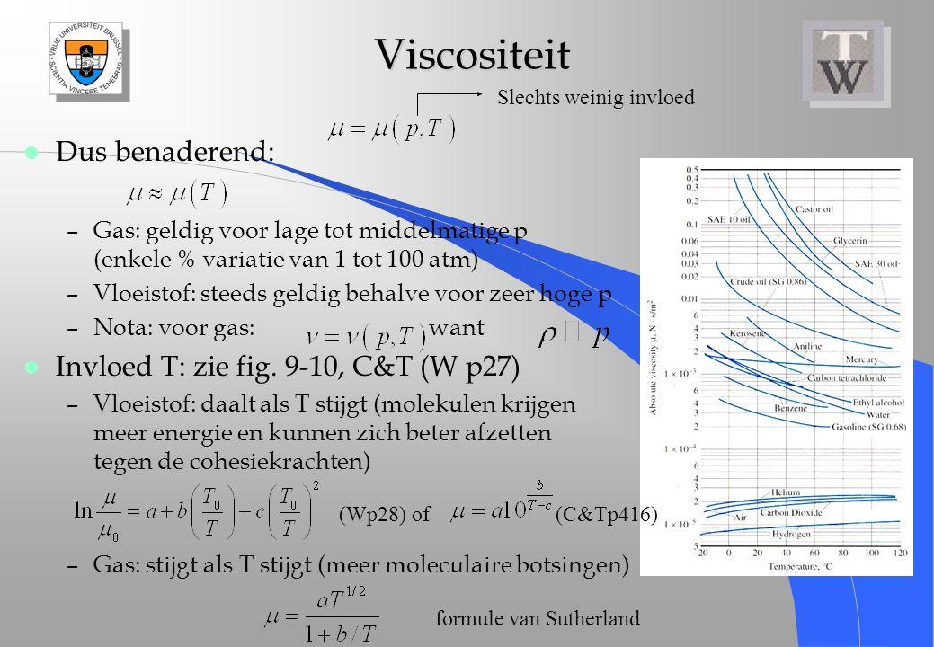Viscositeit Viscositeit l Dus benaderend: –Gas: geldig voor lage tot middelmatige p (enkele % variatie van 1 tot 100 atm) –Vloeistof: steeds geldig be