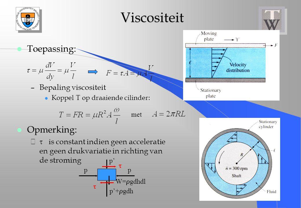 Viscositeit Viscositeit l Toepassing: –Bepaling viscositeit l Koppel T op draaiende cilinder: l Opmerking: –  is constant indien geen acceleratie en