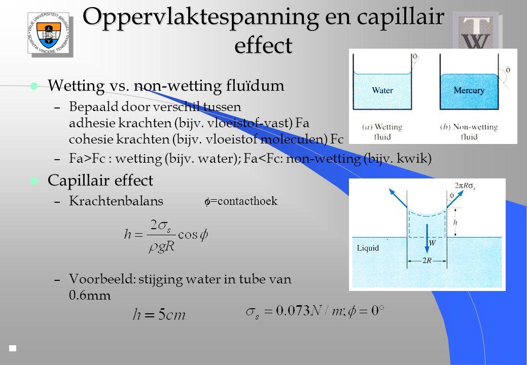 Oppervlaktespanning en capillair effect l Wetting vs. non-wetting fluïdum –Bepaald door verschil tussen adhesie krachten (bijv. vloeistof-vast) Fa coh