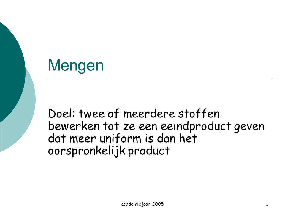 academiejaar 20051 Mengen Doel: twee of meerdere stoffen bewerken tot ze een eeindproduct geven dat meer uniform is dan het oorspronkelijk product