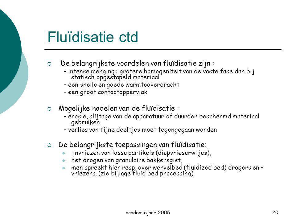 academiejaar 200520 Fluïdisatie ctd  De belangrijkste voordelen van fluïdisatie zijn : ‑ intense menging : grotere homogeniteit van de vaste fase dan