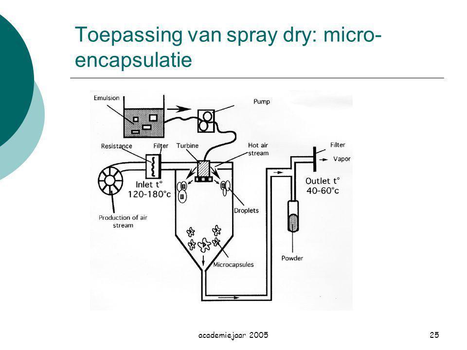academiejaar 200525 Toepassing van spray dry: micro- encapsulatie