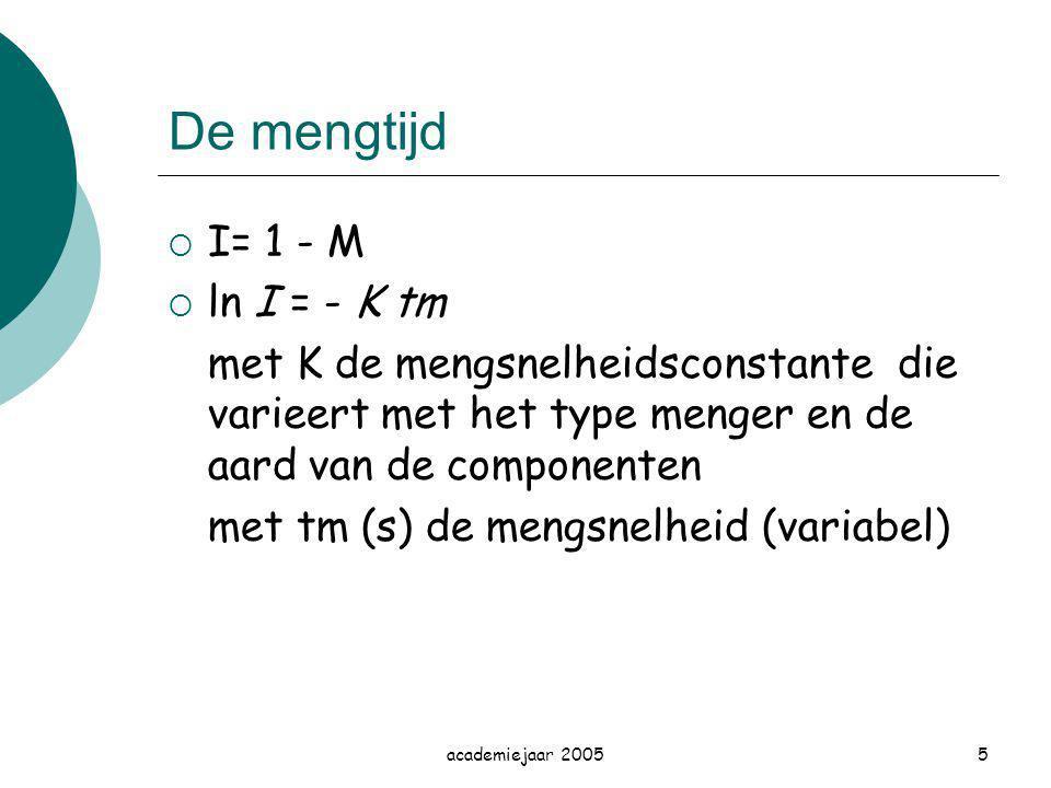 academiejaar 20055 De mengtijd  I= 1 - M  ln I = - K tm met K de mengsnelheidsconstante die varieert met het type menger en de aard van de component