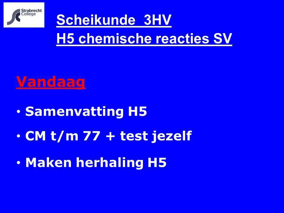 Scheikunde 3HV H5 chemische reacties SV Vandaag Samenvatting H5 CM t/m 77 + test jezelf Maken herhaling H5