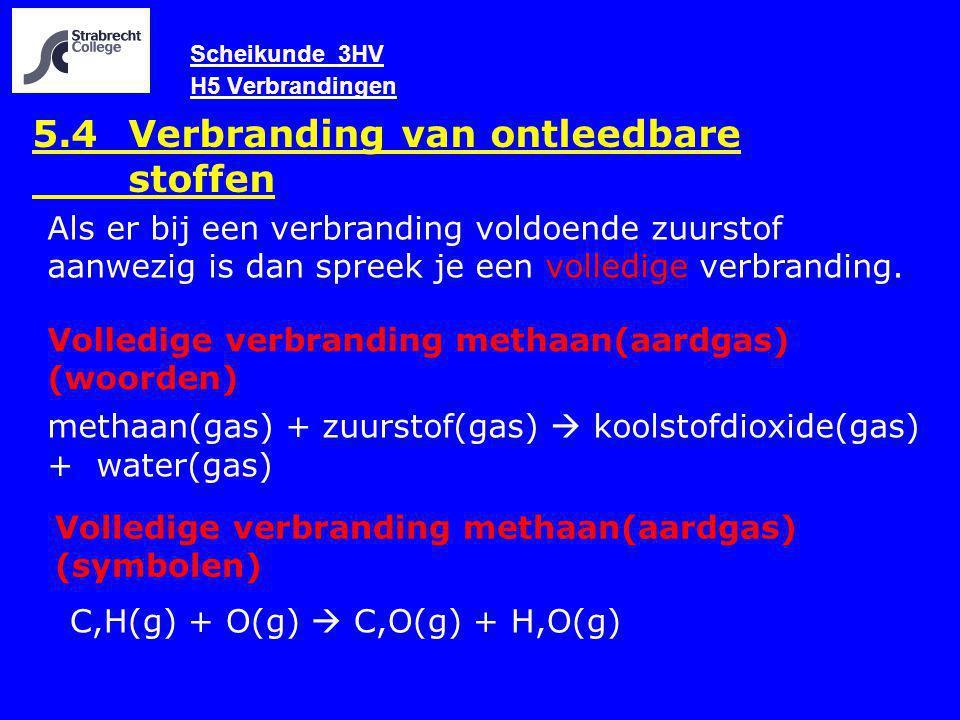 Scheikunde 3HV H5 Verbrandingen 5.4 Verbranding van ontleedbare stoffen Volledige verbranding methaan(aardgas) (woorden) methaan(gas) + zuurstof(gas)