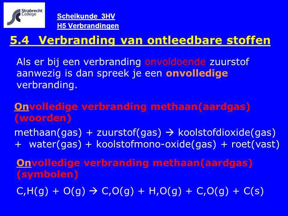 Scheikunde 3HV H5 Verbrandingen 5.4 Verbranding van ontleedbare stoffen Onvolledige verbranding methaan(aardgas) (woorden) methaan(gas) + zuurstof(gas