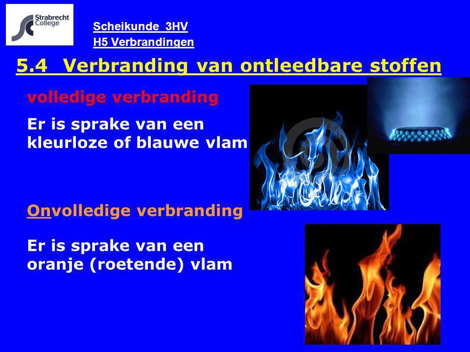 Scheikunde 3HV H5 Verbrandingen 5.4 Verbranding van ontleedbare stoffen volledige verbranding Onvolledige verbranding Er is sprake van een oranje (roe