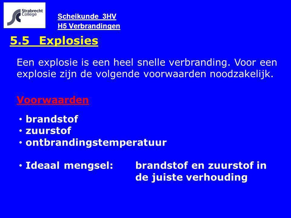 Scheikunde 3HV H5 Verbrandingen 5.5 Explosies Een explosie is een heel snelle verbranding. Voor een explosie zijn de volgende voorwaarden noodzakelijk