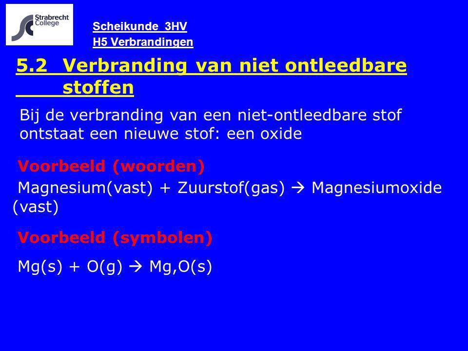 Scheikunde 3HV H5 Verbrandingen 5.2 Verbranding van niet ontleedbare stoffen Voorbeeld (woorden) Magnesium(vast) + Zuurstof(gas)  Magnesiumoxide (vas