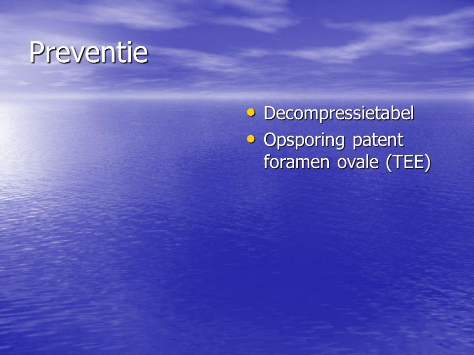 Preventie Decompressietabel Decompressietabel Opsporing patent foramen ovale (TEE) Opsporing patent foramen ovale (TEE)