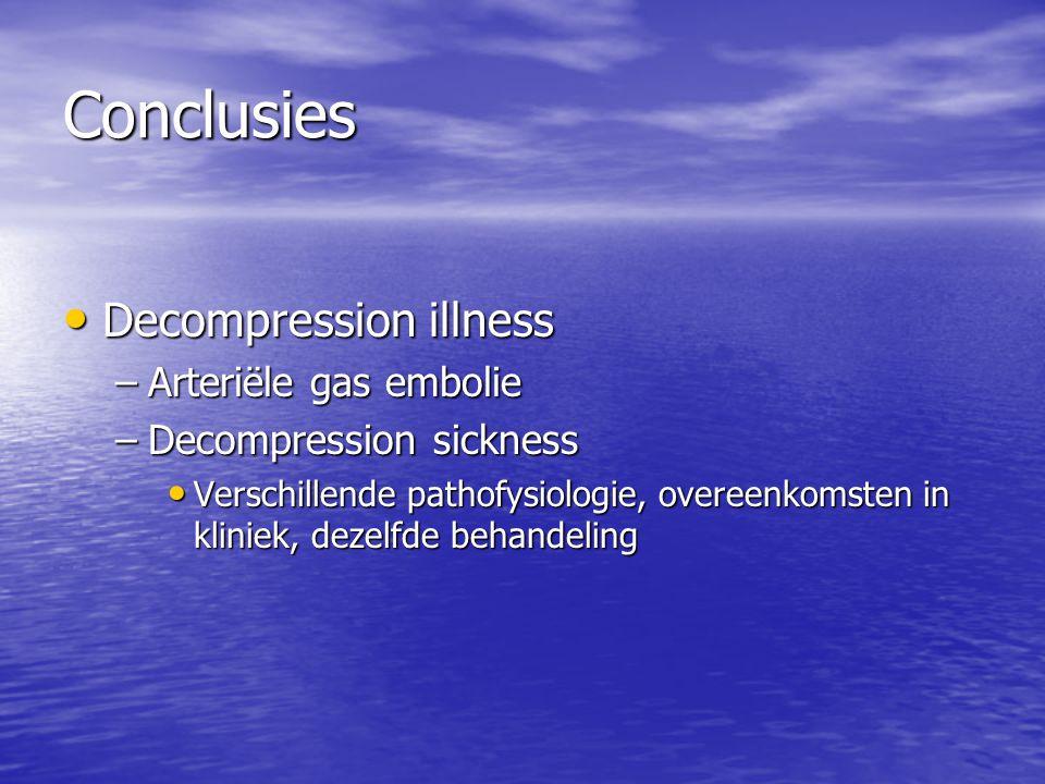 Conclusies Decompression illness Decompression illness –Arteriële gas embolie –Decompression sickness Verschillende pathofysiologie, overeenkomsten in
