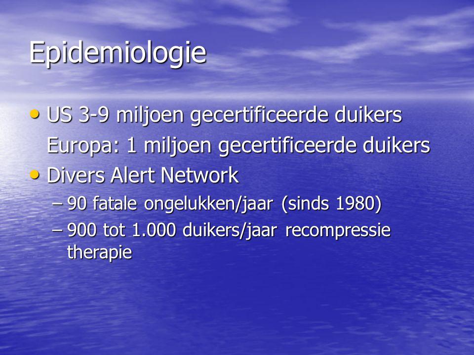 Epidemiologie US 3-9 miljoen gecertificeerde duikers US 3-9 miljoen gecertificeerde duikers Europa: 1 miljoen gecertificeerde duikers Divers Alert Net