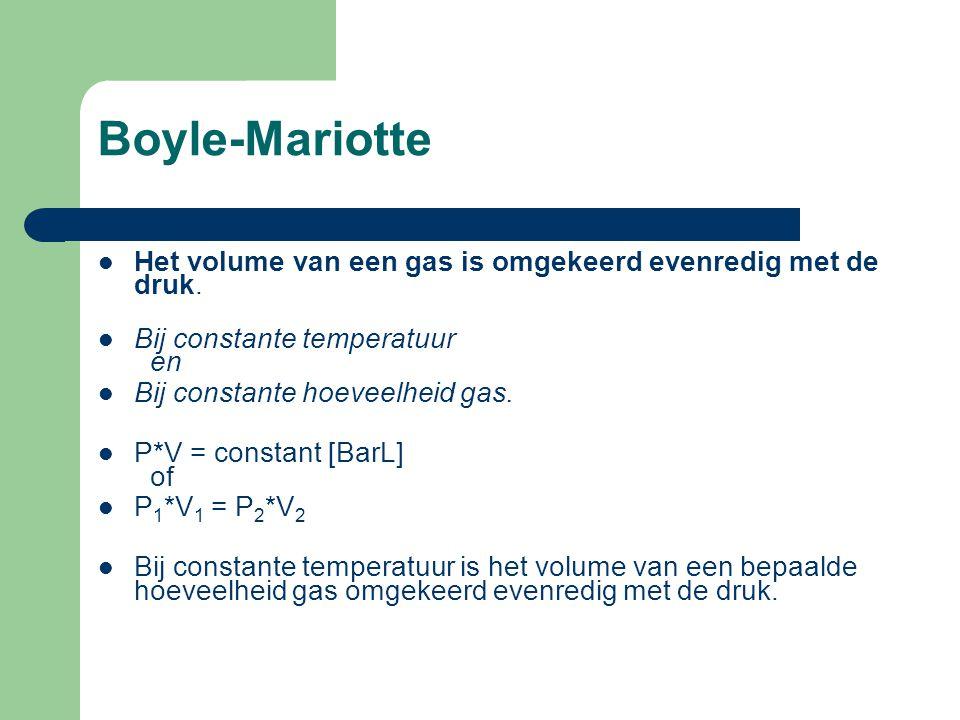 Boyle-Mariotte Het volume van een gas is omgekeerd evenredig met de druk. Bij constante temperatuur en Bij constante hoeveelheid gas. P*V = constant [