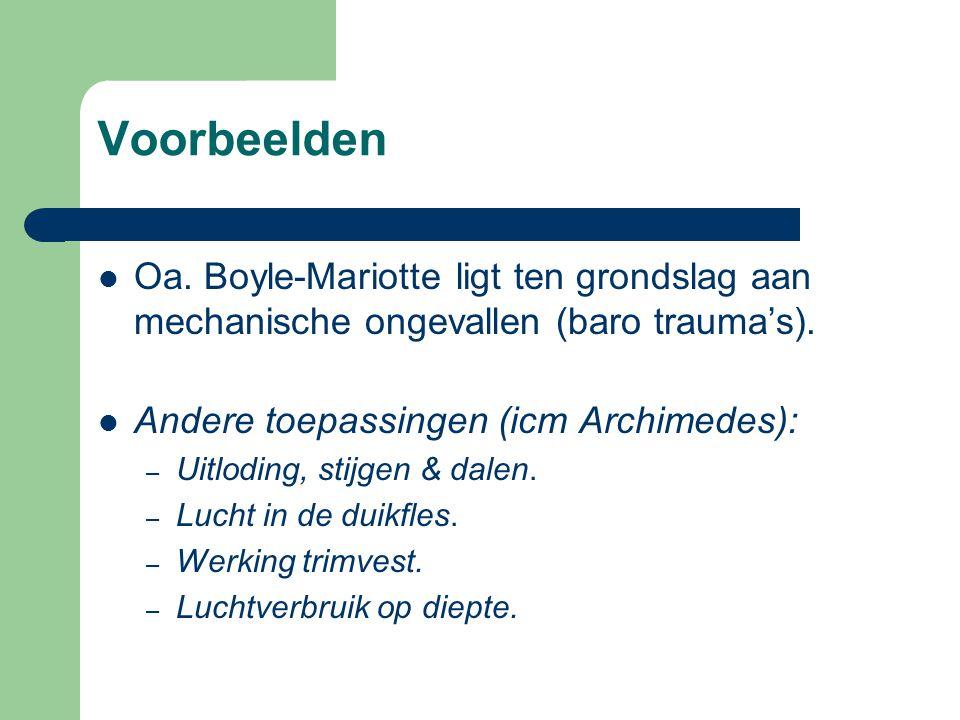 Voorbeelden Oa. Boyle-Mariotte ligt ten grondslag aan mechanische ongevallen (baro trauma's). Andere toepassingen (icm Archimedes): – Uitloding, stijg