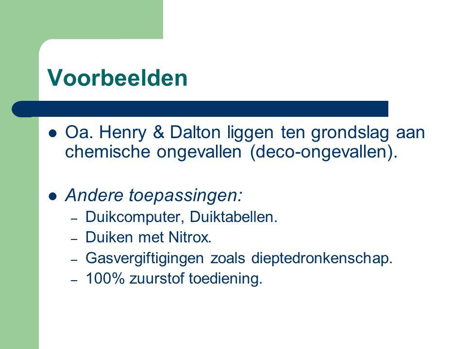 Voorbeelden Oa. Henry & Dalton liggen ten grondslag aan chemische ongevallen (deco-ongevallen). Andere toepassingen: – Duikcomputer, Duiktabellen. – D