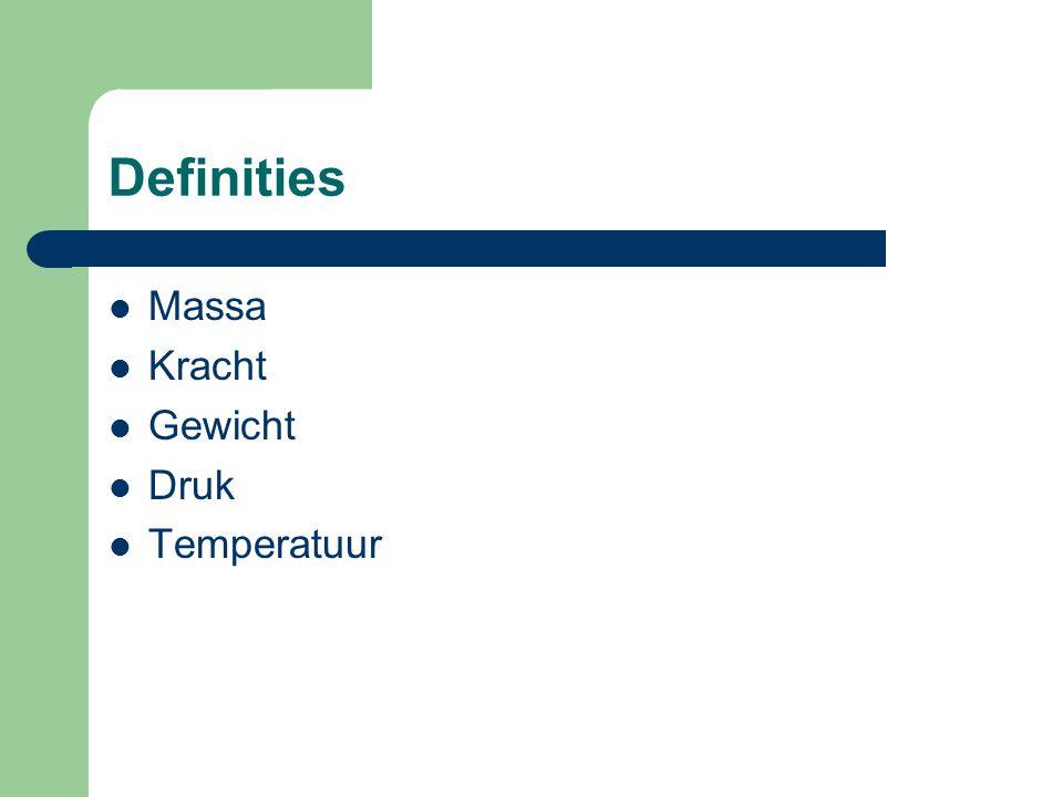 Definities Massa Kracht Gewicht Druk Temperatuur