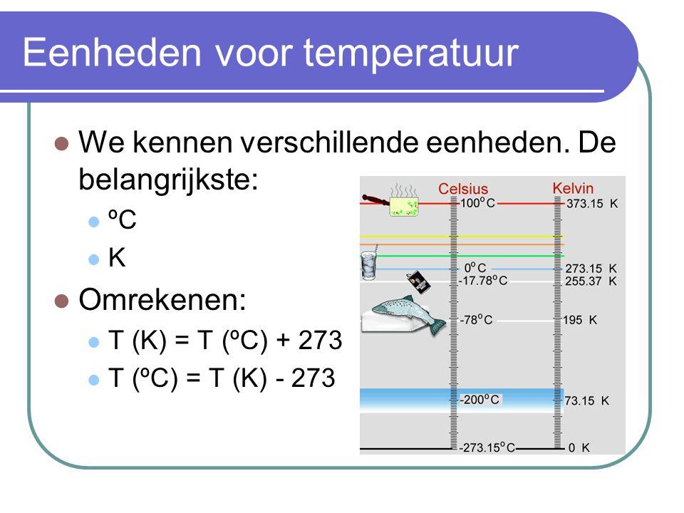 Eenheden voor temperatuur We kennen verschillende eenheden. De belangrijkste: ºC K Omrekenen: T (K) = T (ºC) + 273 T (ºC) = T (K) - 273