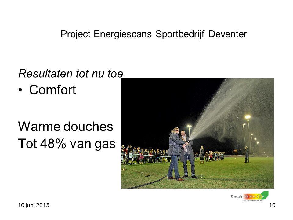 10 juni 201310 Resultaten tot nu toe Comfort Warme douches Tot 48% van gas Project Energiescans Sportbedrijf Deventer